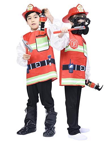 IKALI Kinder Feuerwehrmann Kostüm, Unisex Feuer Chief Weste Uniform Pretend Play Toy Outfit (5 Stück) 3-4 Jahre (Feuerwehrmann Outfit Für Kinder)