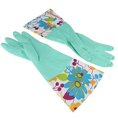 F Fityle Wasserdichte Gummihandschuhe gefüttert Latexhandschuhe lang Spülhandschuhe Küchenhandschuhe für Winter Herbst - Blaue Blume