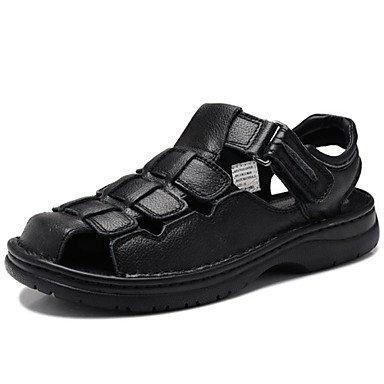 Herren Sandalen Frühling Sommer Herbst Komfort Leder Nappa Outdoor Dress Casual Hellbraun schwarz Wasser Schuhe Black