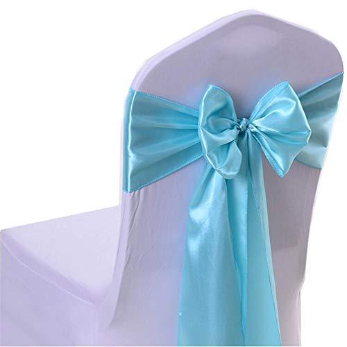 GLITZFAS 10 Stück Satin Stuhl Schärpe Band Stuhlhusse Schleife Stuhl Dekoration in die Geburtstag Party Events 15x275cm (Tiffany-Blau)