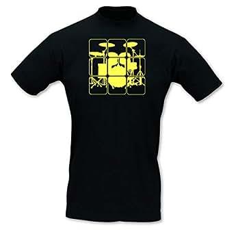 plot4u T-Shirt Schlagzeug Shirts Retro Neonfarben, Imperial Größe S, schwarz/neon gelb