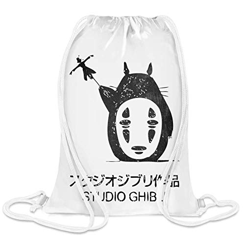 Clubbing Designs Totoro Studio Ghibli Custom Printed Drawstring Sack | 100% Soft Polyester| 5 Liter Capacity| Adjustable String Closure| The Stylish Bag For Every Day Use| Custom Bags By