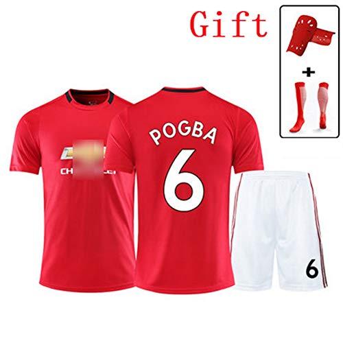HS-JCWY01 Manchesterunited # 6 Paul Pogba Football T-Shirt Jersey Tuta da Allenamento a Maniche Corte ad Asciugatura Rapida Bambini Traspiranti Elasticizzati,2XS145~155CM