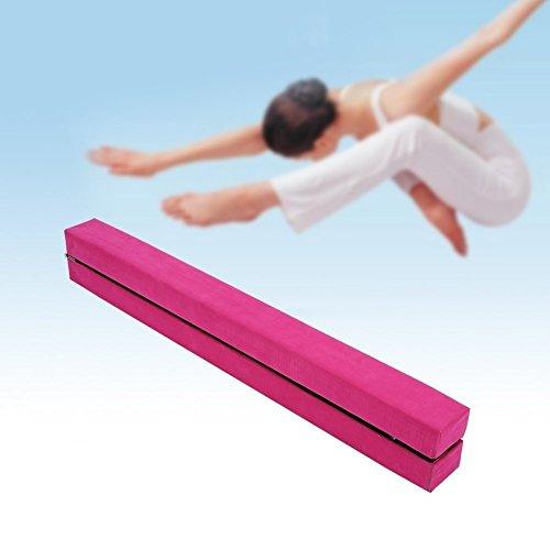 Yosoo 220 cm / 7,2 pieds Poutre Gymnastique, Poutre chamois synthétique pliable, Entraînement sportif d'exercice à la maison ou au gymnase (Rose)