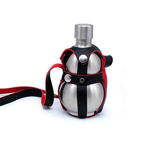 HENGTONGTONGXUN 304 Edelstahl Kürbis kleine Flachmann, tragbare tragbare Ledertasche mit Weinfass Weinflasche im Freien, Weinkrug, Wasserkocher, jährliche Geschenk Wein Set, ein Pfund Last, Oberfläche -