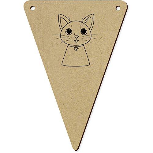 Azeeda 5 x 140mm 'Tête de Chat' Fanions Triangles en Bois (BN00048678)