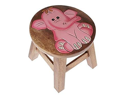 Apollo Wood Pink Elephant Kids Stool, Brown