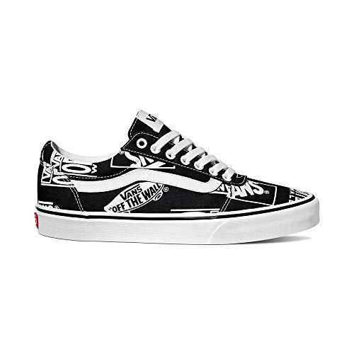 Vans Herren Ward Canvas' Sneaker, Schwarz ((Logo Mix) Black/White Vh4), 44.5 EU - Skate Weiß Schwarz Schuhe