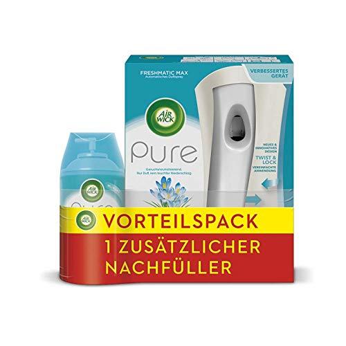 Air Wick Freshmatic Max Vorteilspack Pure Frühlingsfrische automatisches Duftspray, Starter-Set inkl. 2 Nachfüller für automatischen Lufterfrischer, 2x250 ml