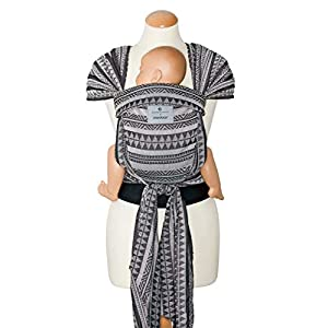 manduca Twist Baby Carrier > Bellybutton Boho Black < Baby Carrier and Sling for Newborns & Babies I Organic Cotton I Wrap Conversion I Soft Waist Belt I Black and White (Woven Jacquard Pattern)   2