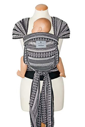 manduca Twist Babytrage > bellybutton Boho Black < Babytrage und Babytragetuch für Neugeborene & Babys I Bio-Baumwolle I Träger zum Auffächern I Weicher Bauchgurt I schwarz-weiß (Jaquard-Muster)