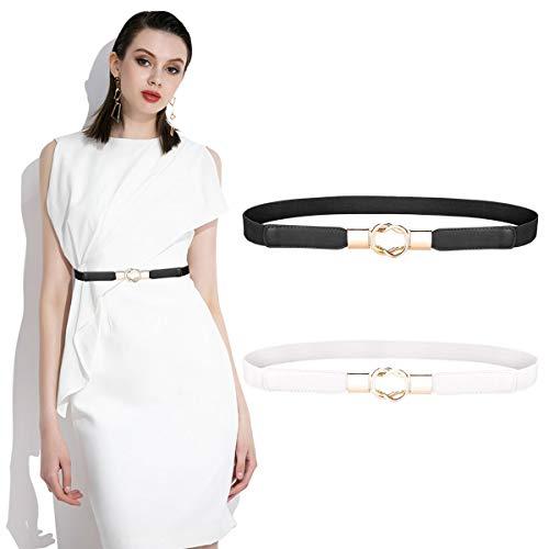 2 Pezzi Cintura Elastica Vita da Donna Cintura Moda Retrò Sottile per Donne Ragazze Vestito Accessori