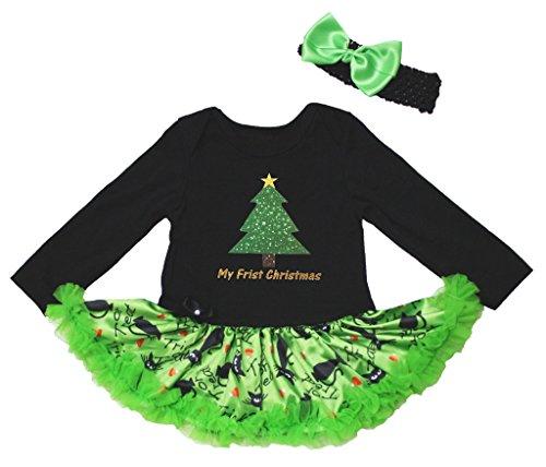 Christmas Dress Xmas Tree Print Black L/s Bodysuit Green Cats Tutu Skirt Nb-18m (12-18 (Kostüm Tutu Cat Black)