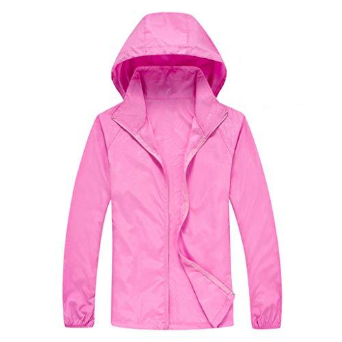 ZHANSANFM Sonnenschutzkleidung Unisex Ultradünne atmungsaktive Kleidung Radtrikot Radjacke Softshell Lightweightjacke Regenjacke upf50 uv-schutzkleidung Haut Windbreaker Outdoor (3XL, Pink1)