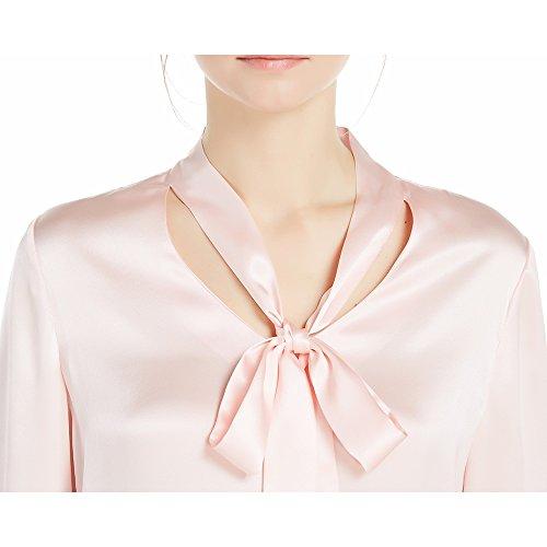 LILYSILK Seide Damen Hemdbluse Langarmbluse Schluppenbluse 22 Momme Hell Rosa
