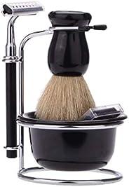 AMERTEER Shaving Kit for Men 4-in-1 Stainless Steel Wet Shaving Beard Razor Professional Manual Stand Holder S