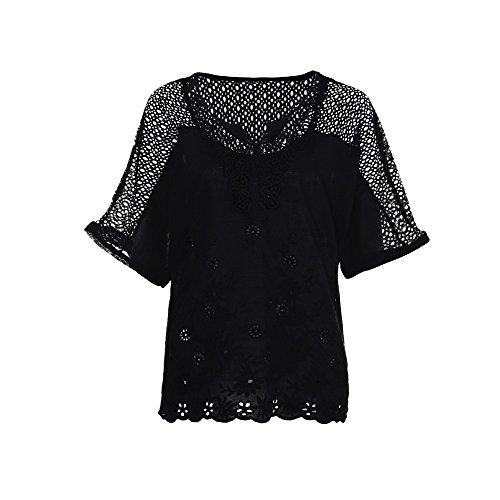 Lazzboy Frauen Sommer Oansatz Kurzarm Aushöhlen Solide Lässige Bluse Top T-Shirt Damen Damenmode V-Ausschnitt Print Langarm-lose Tops Mode Dame Tshirt Lange ärmel Shirt(Schwarz,4XL)