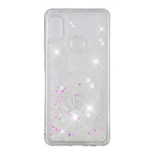 Preisvergleich Produktbild HopMore Silikon Glitzer Handyhülle für Xiaomi Redmi Note 5 Pro Hülle 3D Flüssig Transparent Muster Kreativ Lustig Schutzhülle Durchsichtig Handyhülle Stoßfest Gummi Cover Slim Bumper - Weiße Feder