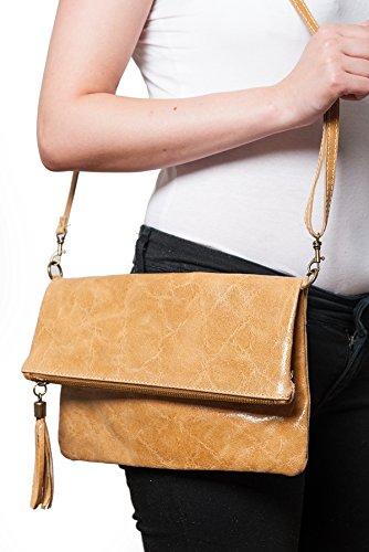Clutch ,Borse a spalla (28 / 19 / 4 cm ) in pelle Mod. 2059 by Fashion-Formel Beige/Croco