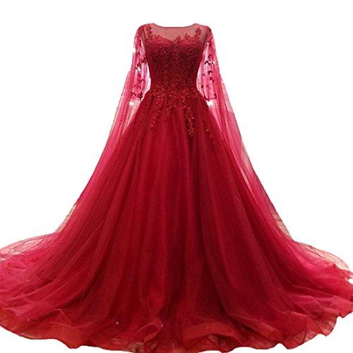 O.D.W Damen Tuell Spitze Vintage Brautkleider Lange Boho Rustikale Hochzeitskleider (Rot, 34)