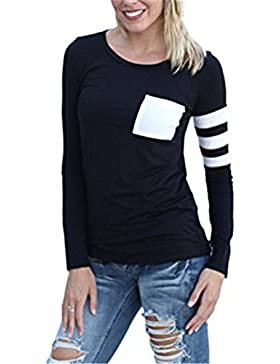 Donna Maglietta Manica Lunga Girocollo Allentato Camicetta T-Shirt Top Casuale Partito Per Le Donne