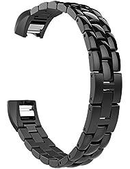 MoKo Fitbit Alta / Alta HR Correa - Universal Reemplazo SmartWatch Band de Reloj de Acero Inoxidable / Hebilla Doblable Accesorios para Fitbit Alta / Alta HR Smart Fitness Tracker, ( NO INCLUYE El RELOJ ), Negro