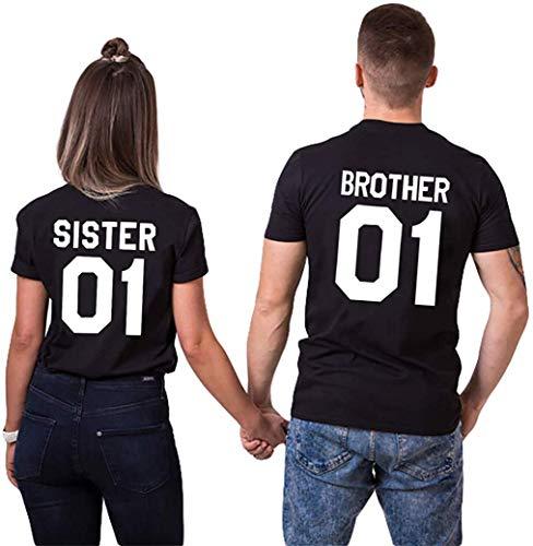 Brother Sister Partner T-Shirt für 2 Freunde Geschwister