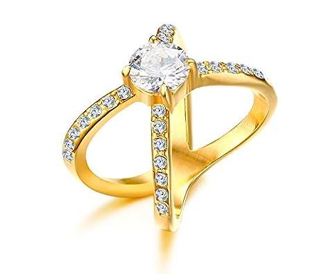 Vnox l'acier inoxydable du zircon sillonnent mariage pour les filles d'engagement band bague