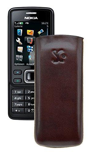 Suncase® Tasche für / Nokia 6300 - 6300i / Leder Etui Handytasche Ledertasche Schutzhülle Case Hülle *Lasche mit Rückzugfunktion* in braun