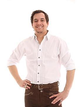 Orbis Herren Trachtenhemd Herren Hemd weiß mit Krempelärmel und Trachtenknöpfen
