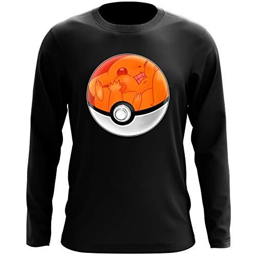 T-Shirt à Manches Longues Noir Pokémon parodique La Poké Ball de Pikachu : Pika Pas Cool ! (Parodie Pokémon)