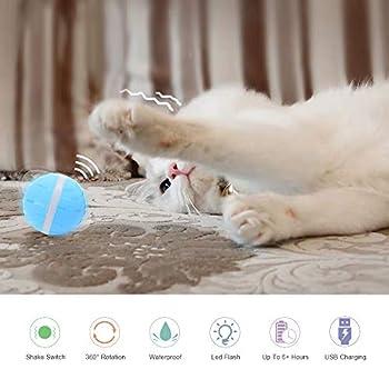 GerTong Pet Automatique Roller Ball, Balle Rotative Interactive à 360 Degrés avec Lumière LED et Batterie de Recharge,Jouet Interactif électrique pour Chat - Bleu