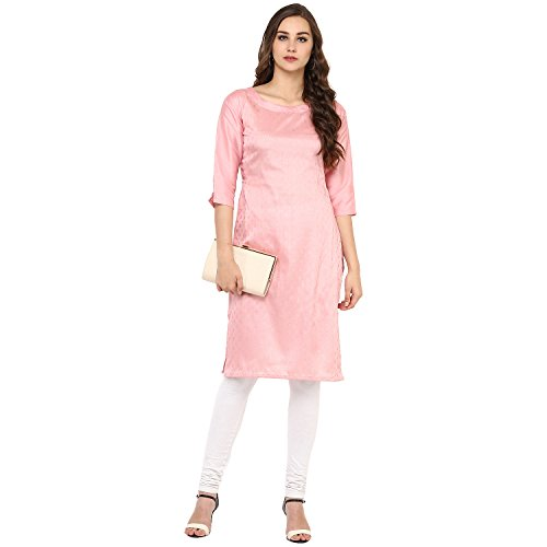 Ziyaa Women's Pink Color Printed Straight Poly Silk Kurta (ZIKUPS1942)