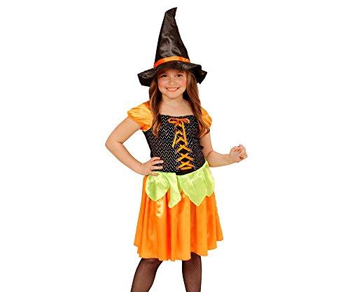 Widmann 49045 - Kinderkostüm Hexe Kürbis, Kleid mit holografischen Pailletten und Hut, Gröߟe 116