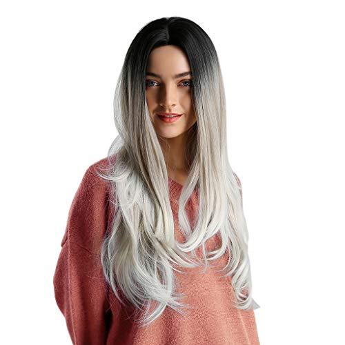 Xmansky Perücke,Mix Farbverlauf Perücke Dame Langes Lockiges Haar Synthetische Perücke Mode Wellenförmige Perücken Kappe,Anzug für Karneval/Maskerade (26 Zoll)
