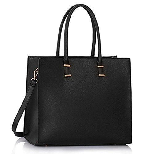 Damen Handtasche Schultertasche Tasche Large Umhängetasche Entwerfer Shopper Henkeltasche, Neu (Schwarz) (Shopper Groß Schwarz)