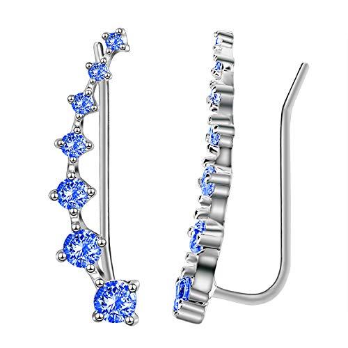 Elensan1 Bling Ohrklemmen 7 Kristalle 925er Sterling Silber Hypoallergen(Hellblau)