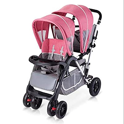 WYL Segundo niño Doble Carro de niño Grande Frente y Asiento Trasero Doble Cochecito de bebé con Carro de Pedal