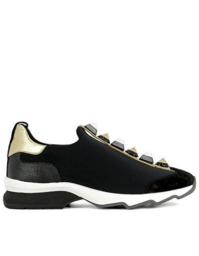 fendi-mujer-8e6386snnf07be-negro-oro-tela-zapatillas-slip-on