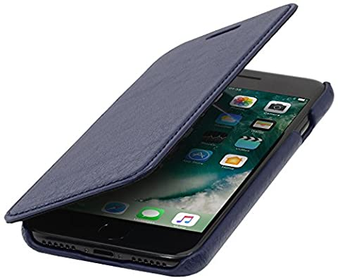 StilGut Book Type sans clip, housse iPhone 8 & iPhone 7 en cuir. Etui de protection à ouverture latérale pour iPhone 8 & iPhone 7 (4.7 pouces), Bleu foncé nappa