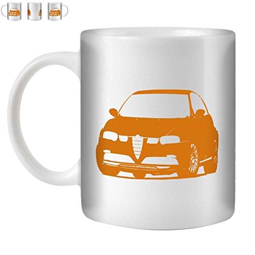 Stuff4 Tasse de Café/Thé 350ml/Orange/Alfa 147 GTA V6/Céramique Blanche/ST10