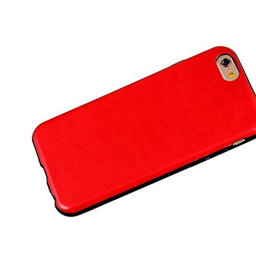 iPhone Case Cover style de cuir coloré modèle souple faux cas TPU + PC 2 en 1 matière cas de couverture de peau pour iPhone 6 6S ( PATTERN : Red , Size : IPhone 6/6S ) Red