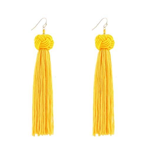 Setmei - Orecchini pendenti da donna in stile vintage, nappine in tessuto, orecchini lunghi