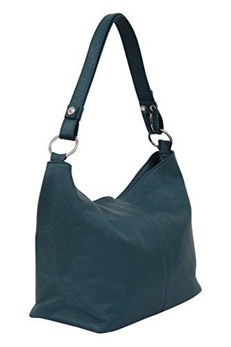 AMBRA Moda Damen Leder Handtasche Schultertasche Umhängetasche Hobo bag GL005 (Petrol)
