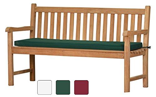 Grüne Bankauflage Kanaria - 150 x 47 cm |  Bank-Polster aus 100% strapazierfähigem Polyester  6 cm dickes bequemes Bankkissen  Polster-Auflage als Sitzpolster für Gartenmöbel & als...