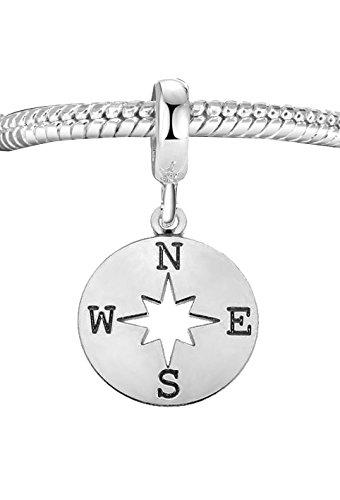 Echtes 925Sterling Silber Kompass Charme Bead C7B