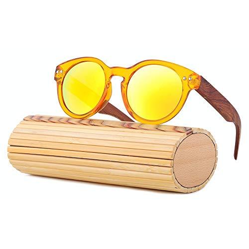Polarisierte UV400-Schutzgläser Handgefertigte Bambus Holz Sonnenbrille Rund Sonnenbrille...
