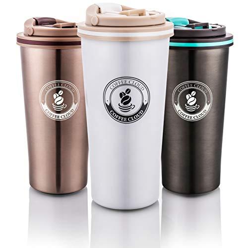 hl Kaffeebecher 500ml | Doppelwandig vakuumisolierter Travel Mug | Thermobecher aus Edelstahl | Isolierbecher BPA Frei, Leicht & Auslaufsicher (Weiß) ()