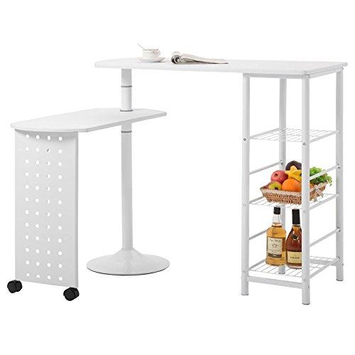IDIMEX Bartisch Stehtisch Tresen JOSUA, in Weiß, mit Regal, Ablagen und schwenkbarem Tisch