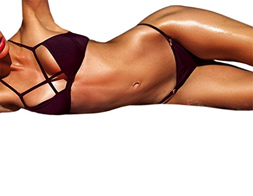 YARBAR Donne Sexy Halter Croce triangolo Bikini Marrone scavi fuori